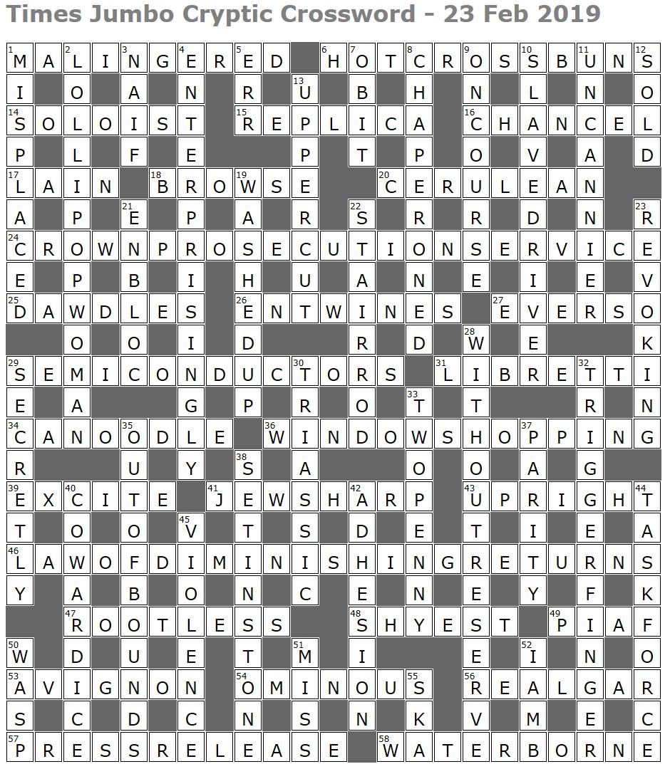 Times Jumbo Cryptic Crossword 1368 Lucian Poll S Web Ramblings