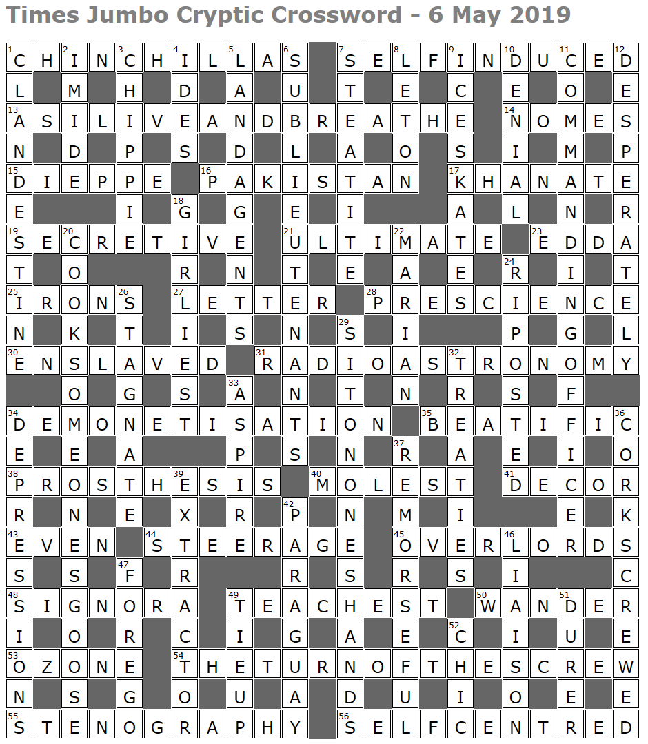 times jumbo crossword – Page 3 – Lucian Poll's Web Ramblings