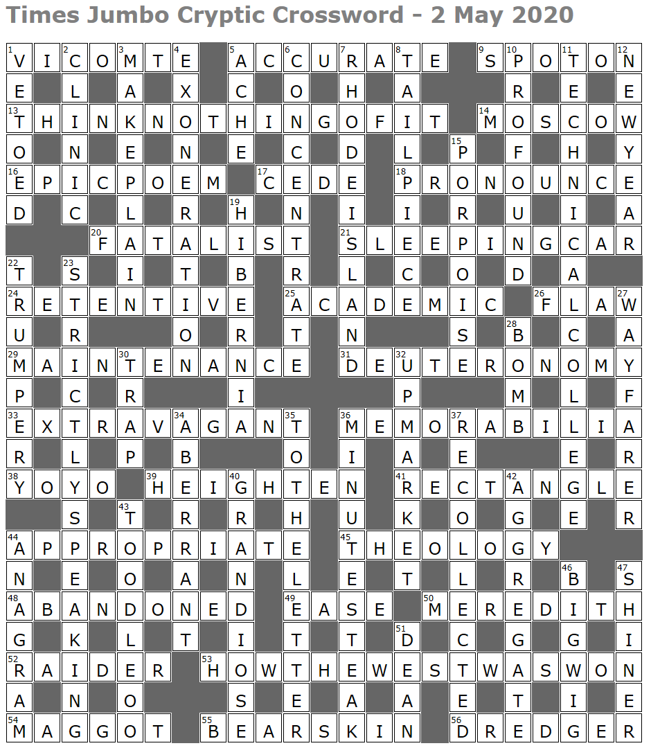 Times Jumbo Crossword Page 5 Lucian Poll S Web Ramblings