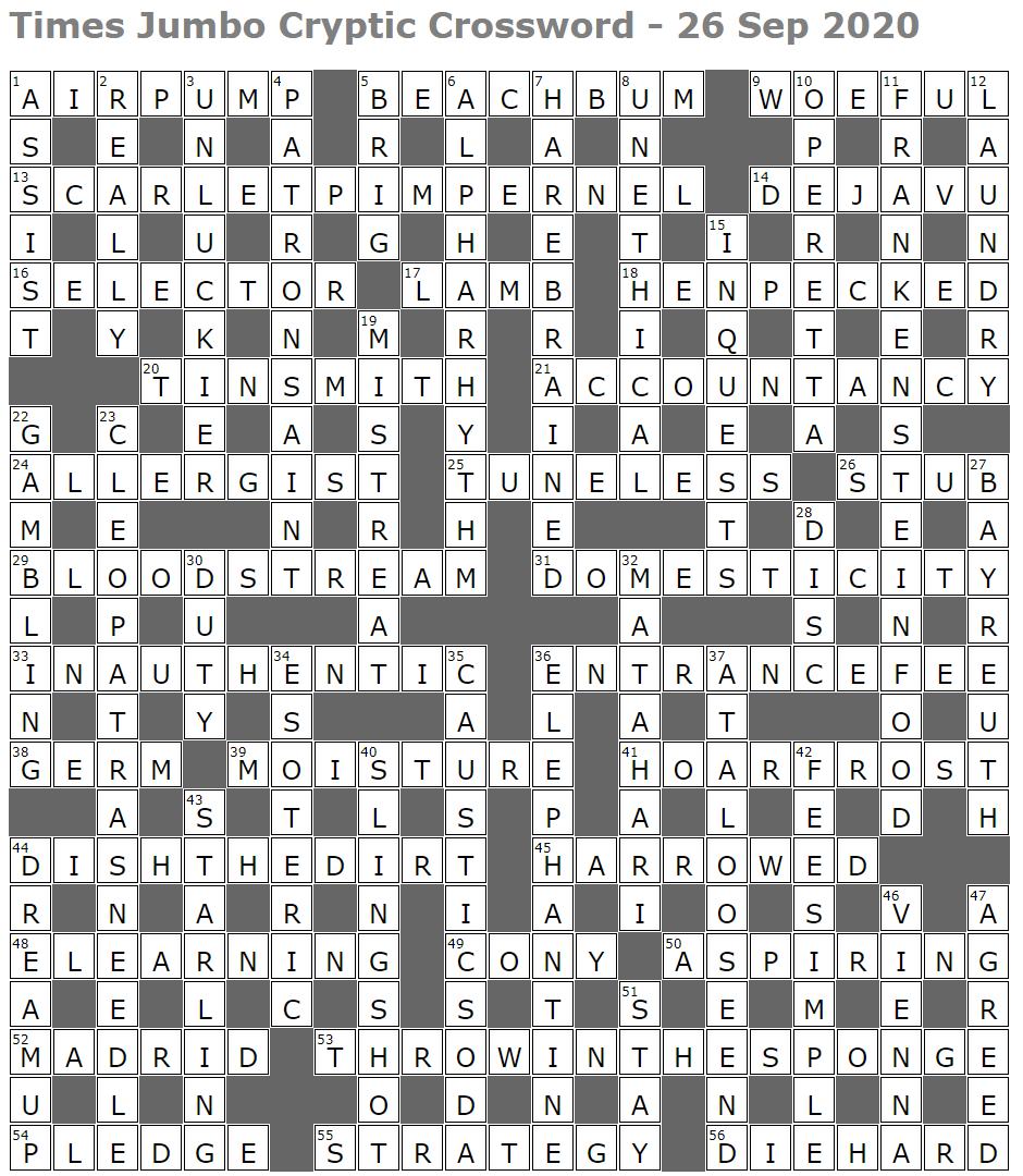 Times Jumbo Cryptic Crossword 1461 Lucian Poll S Web Ramblings